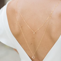 """""""Bianca"""" Collier bijou de dos avec pendentifs ronds strassés et zircons"""