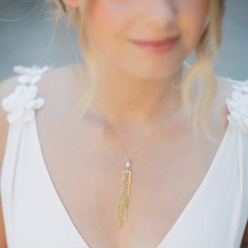 """""""Alina"""" Collier de mariée avec pendentif chaîne à franges et perle d'eau douce"""