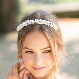 """Sana"" Couronne de mariée multitude de petites fleurs de lilas"