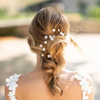 """""""Lolina"""" Ornement pour coiffure de mariée fleurs de porcelaine"""