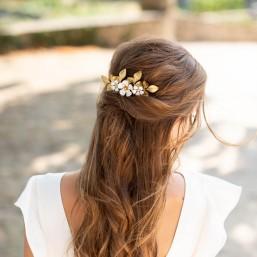 """""""Liana"""" Peigne de mariée jolis feuillages en laiton et fleurs émaillées"""
