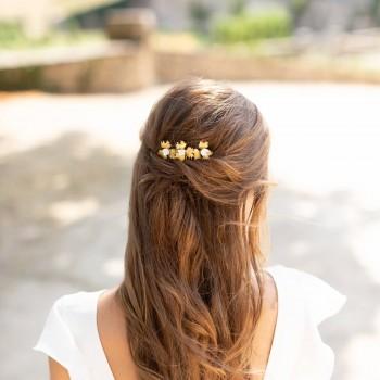 """""""Noria"""" Peigne de mariée fleurs dentelées en laiton et fleurs de lilas en porcelaine"""