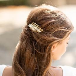 """""""Felicita"""" Peigne de mariée avec estampe feuille et fleurs séchées"""
