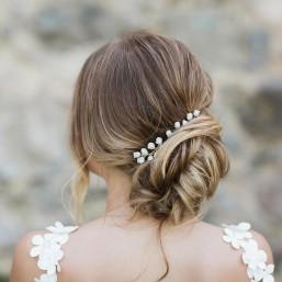 """""""Macha"""" Petit peigne et pics coiffure de mariée boutons de roses en porcelaine"""