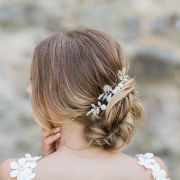 """""""Cecilia"""" Pics pour coiffure de mariée avec feuillage et fleurs séchés"""