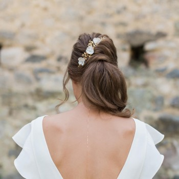 """""""Clea"""" Trio de pics fleuris pour coiffure de mariée"""