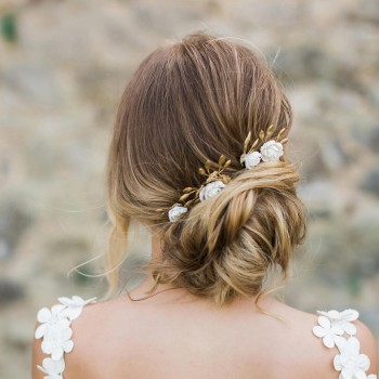 """""""Floriana"""" Pics et peigne fleuris pour coiffure de mariée"""