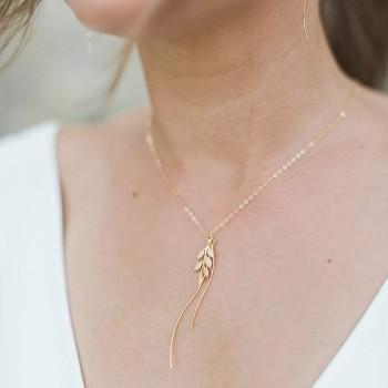 """""""Fania"""" Collier de mariée avec jolie branche et pendentifs vagues, petit bijou de dos intégré"""