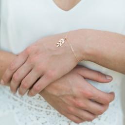 """Fania"" Bracelet de mariée jolie branche feuilles"