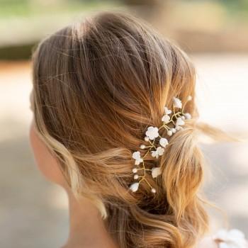 """""""Sandra"""" Ornement de coiffure de mariée fleurs en porcelaine et perles d'eau douce"""